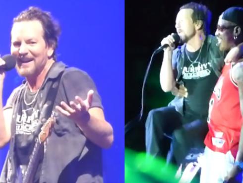 ¡Eddie Vedder de Pearl Jam terminó en los brazos de Dennis Rodman en pleno concierto! [VIDEO]