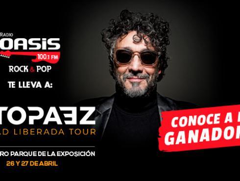 ¡Estos son los ganadores de entradas dobles para ver a Fito Paez, en Lima, gracias a Radio Oasis!