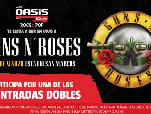 ¡Radio Oasis regala 10 entradas dobles para el concierto de Guns N' Roses!