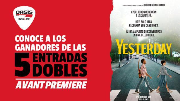 Estos son los ganadores de las 5 entradas dobles para el Avant Premiere de la película 'Yesterday'