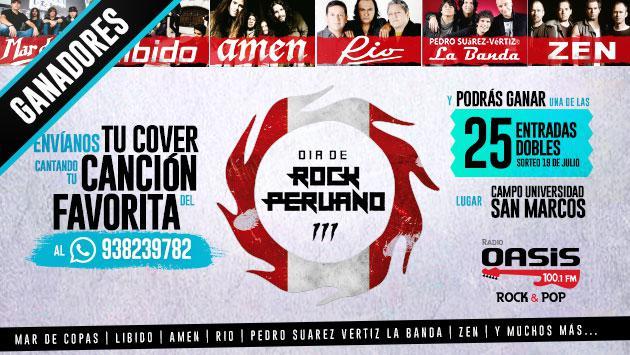 ¡Estos son los ganadores de las entradas dobles para el Día del Rock Peruano, gracias a Radio Oasis!