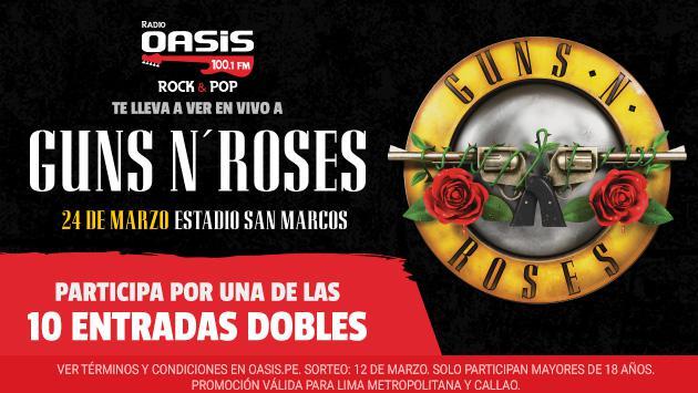 ¡Conoce a los 10 ganadores de las entradas dobles para el concierto de Guns N' Roses!