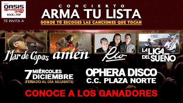 Conoce a los ganadores de las entradas para 'Arma tu lista' con Mar de Copas, Amen, Rio y La Liga del Sueño